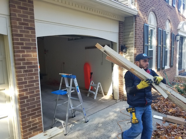garage door replacement in process
